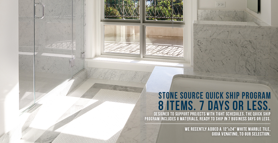 The Stone Source Quick Ship Program is designed to support projects with tight schedules. It includes 8 materials, ready to ship in 7 business days or less.