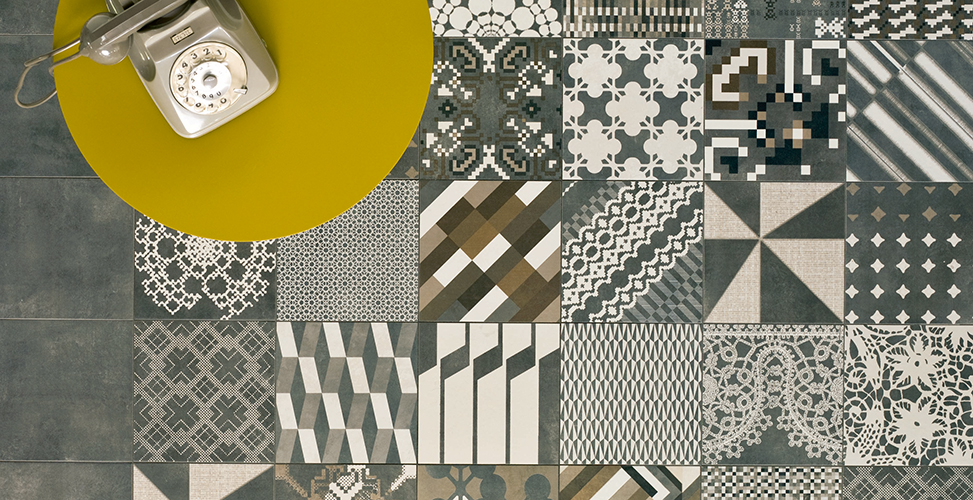 Azulej by Patricia Urquiola for Mutina. Azulej is a series of glazed porcelain tile. The horizontal, vertical and diagonal patterns support patchwork applications or carefully constructed repeats.