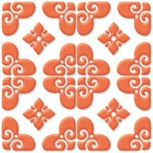 Bon Ton Orange On White Porcelain Tile