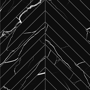 Mate by 41zero42 -  Marmo Nero - Chevron - Porcelain Tile