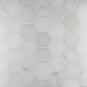 Calacatta-Honed-2-x-2-Hexagon-Mosaic-Marble1