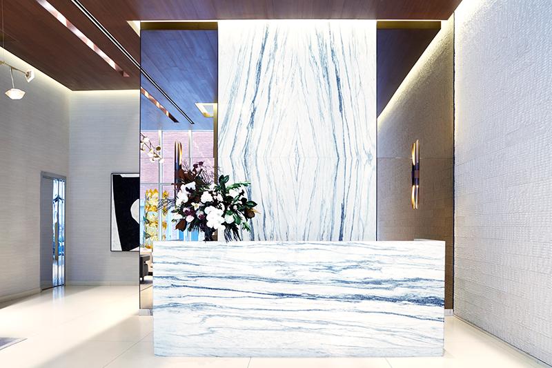 5 Franklin Lobby Lisa Fairstein Black + Steel Studio Montclair Danby Vein Cut